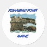 Faro del punto de Pemaquid Etiqueta Redonda