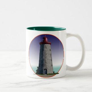 Faro del punto del molino de viento taza de café de dos colores