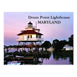 Faro del punto del tambor, postal de Maryland