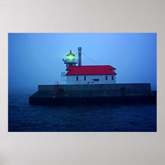 Faro del sur de niebla del embarcadero póster