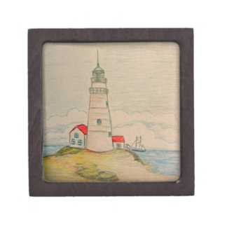 Faro dibujado mano cajas de recuerdo de calidad