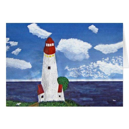 Faro diurno con la pintura de la vista al mar felicitaciones