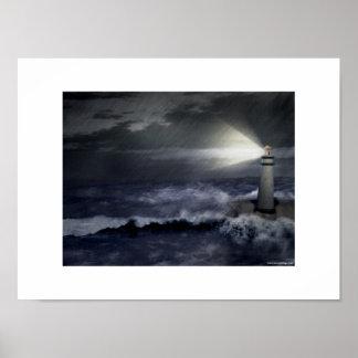 Faro durante tormenta póster