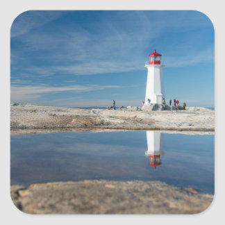 Faro el   Canadá de la ensenada de Peggy Pegatina Cuadrada