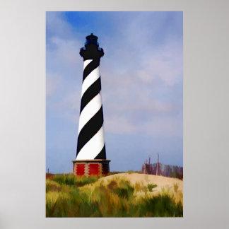 Faro en el cabo Hatteras Carolina del Norte Póster