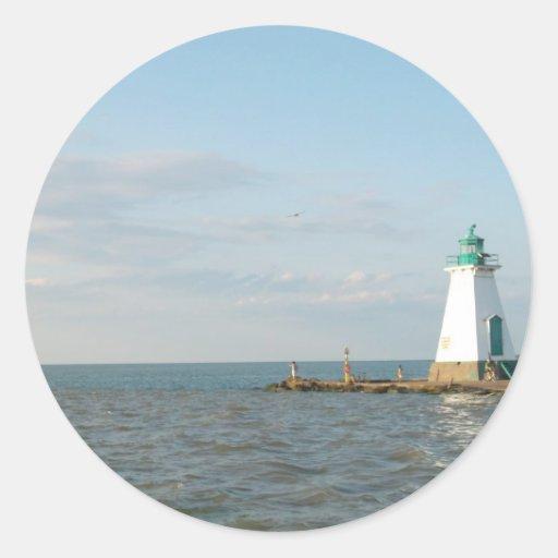 Faro en el lago Ontario Etiqueta Redonda
