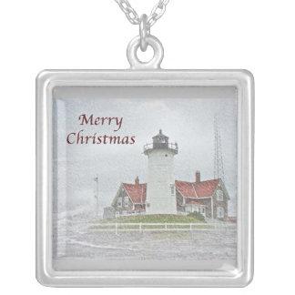 Faro en Felices Navidad de la nieve Collares Personalizados