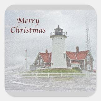Faro en Felices Navidad de la nieve Pegatina Cuadrada
