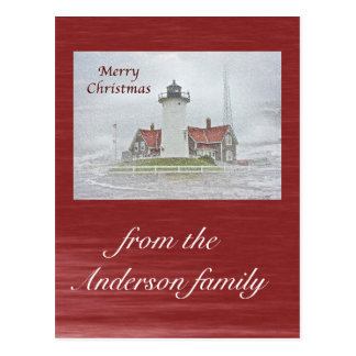 Faro en Felices Navidad de la nieve Tarjetas Postales