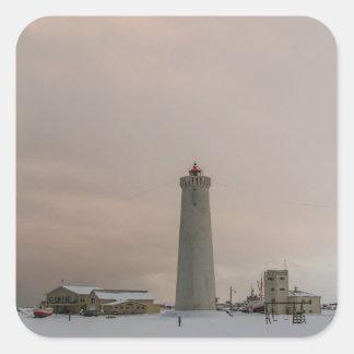 Faro en Islandia Pegatina Cuadrada