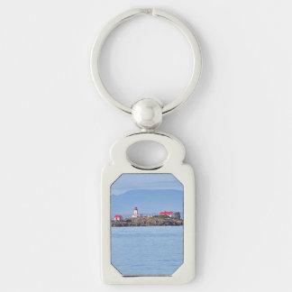 Faro en la feliz isla llavero plateado rectangular