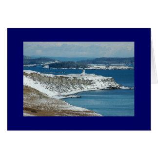 Faro en la nieve tarjeta
