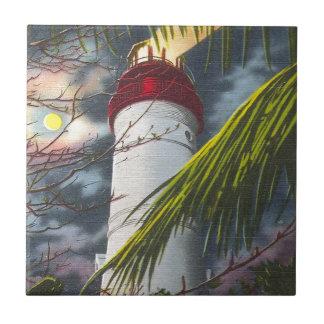 Faro en la noche Key West, la Florida Tejas Ceramicas