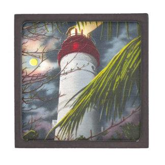 Faro en la noche Key West, la Florida Cajas De Regalo De Calidad