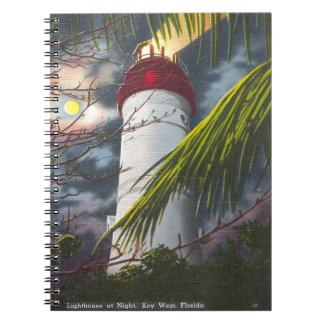 Faro en la noche Key West, la Florida Libros De Apuntes
