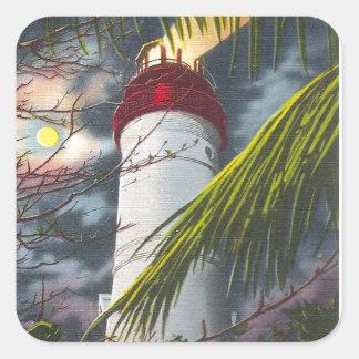 Faro en la noche Key West, la Florida Pegatina Cuadrada