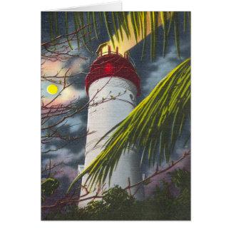 Faro en la noche Key West, la Florida Felicitacion