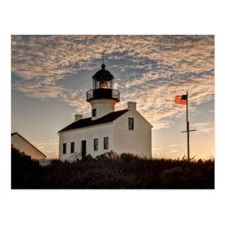 Faro en la puesta del sol, California Tarjeta Postal