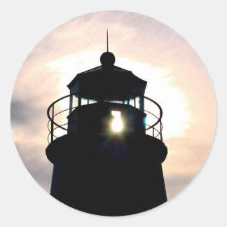 Faro en la puesta del sol pegatinas redondas