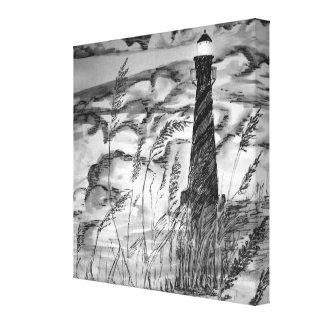 Faro en la tormenta lona estirada galerías