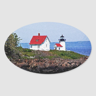 Faro en Maine Pegatina Ovalada