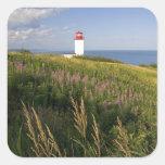 Faro en St Martins, Nuevo Brunswick, 2 Pegatina Cuadrada