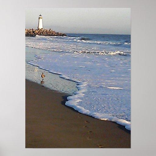 faro en una playa de Santa Cruz Póster