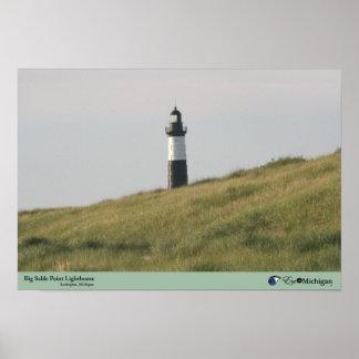 Faro grande del punto del Sable - Michigan Poster