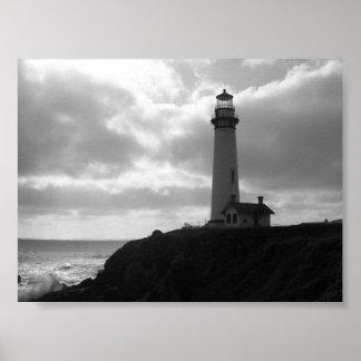 """""""Faro"""" Half Moon Bay, CA del punto de la paloma Posters"""