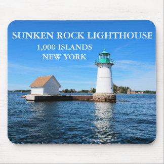 Faro hundido de la roca, Nueva York Tapete De Raton