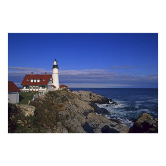 Faro ligero principal Maine de Portland Póster