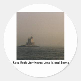 Faro Long Island Sound de la roca de la raza Pegatina Redonda