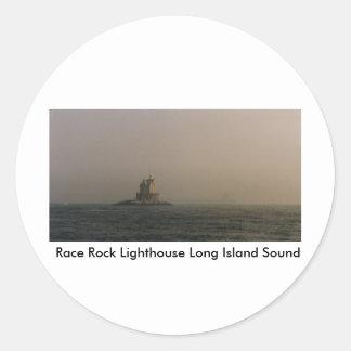 Faro Long Island Sound de la roca de la raza Pegatinas Redondas