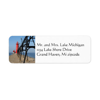faro magnífico de Michigan del asilo Etiqueta De Remite