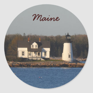 Faro Maine del puerto de la perspectiva Pegatina Redonda