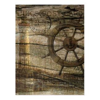 Faro náutico costero primitivo de la rueda del tarjeta postal