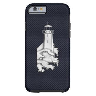 Faro náutico del cromo en la impresión de la fibra funda de iPhone 6 tough