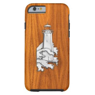 Faro náutico del cromo en la impresión de madera funda de iPhone 6 tough
