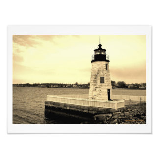 Faro Newport, RI de la isla de la cabra Fotografía