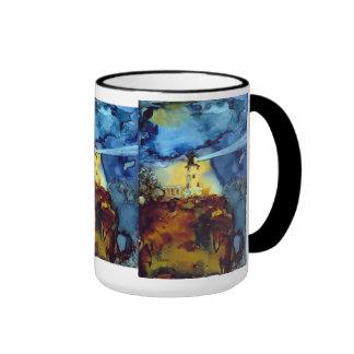 Faro partido de la roca en la noche taza de dos colores