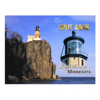 Faro partido de la roca, Minnesota Tarjeta Postal