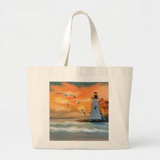 Faro por puesta del sol bolsa tela grande