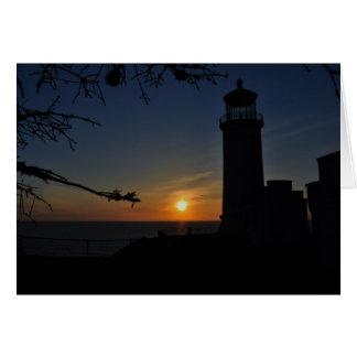 Faro principal del norte en puesta del sol tarjeta pequeña