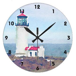 Faro principal del norte Ilwaco, impresión de la Reloj Redondo Grande