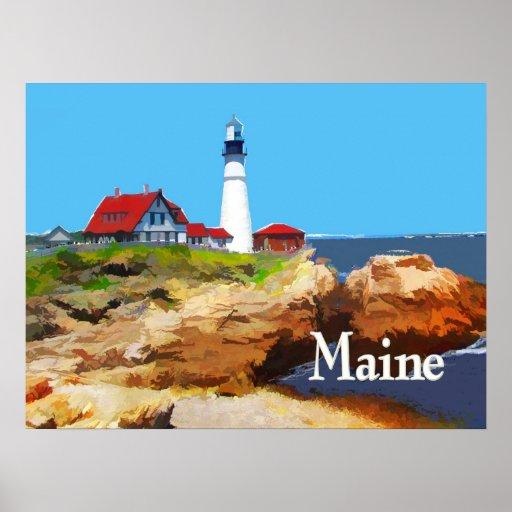 Faro principal Maine de Portland Posters