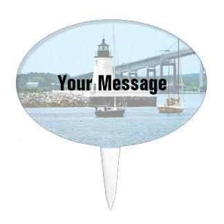 Faro, puente y barcos, Newport, RI Decoraciones Para Tartas