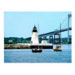 Faro, puente y barcos, Newport, RI Postal