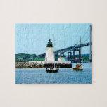 Faro, puente y barcos, Newport, RI Puzzle Con Fotos