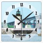 Faro, puente y barcos, Newport, RI Reloj