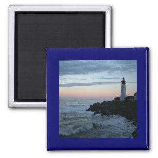 ¡Faro, puesta del sol gloriosa! Imán Cuadrado